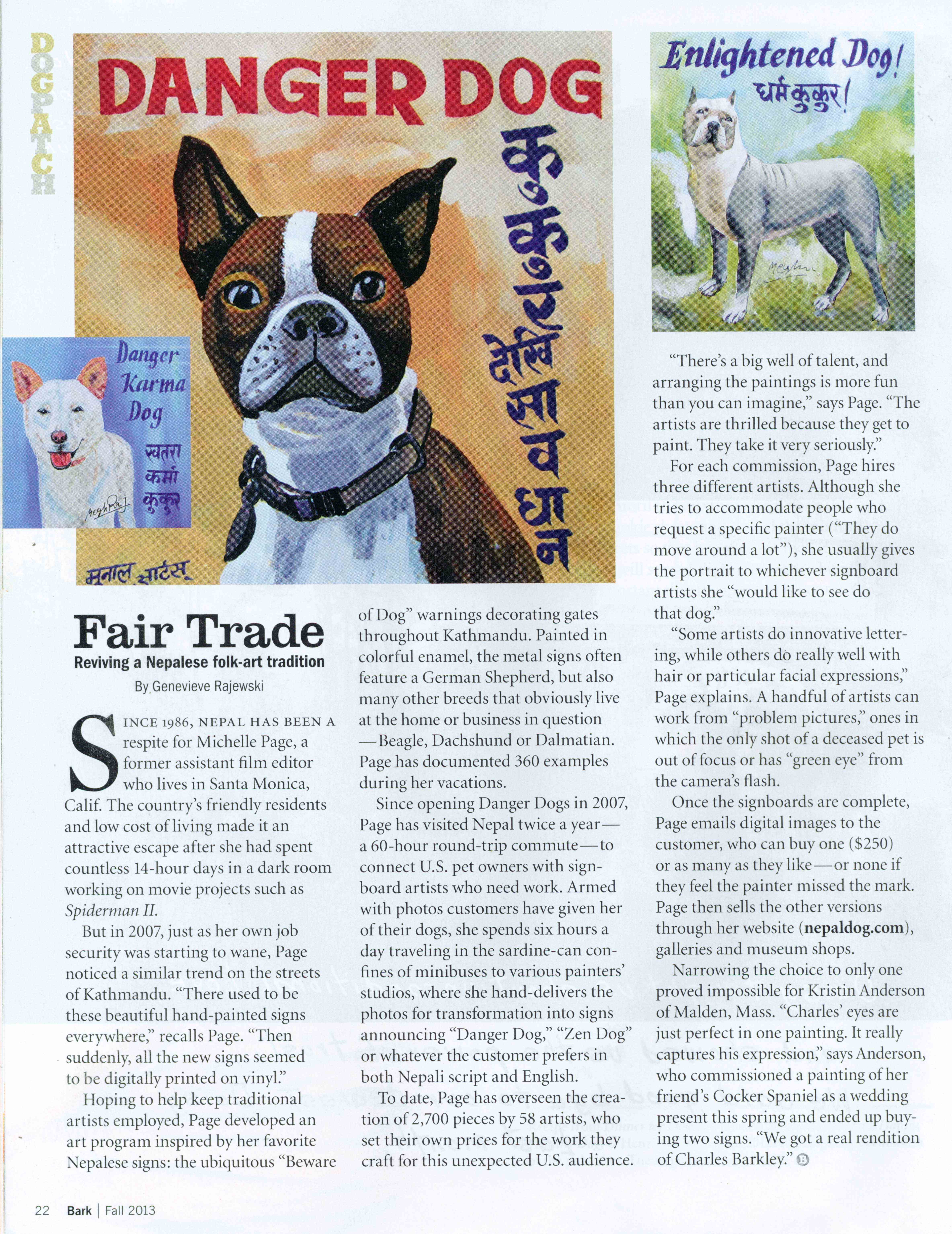 The Danger Dogs are featured in the Bark Magazine