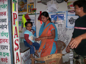 Sign painter and family in the studio in Kathmandu Nepal