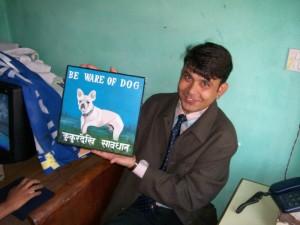 Krishna Ojna with a French Bulldog