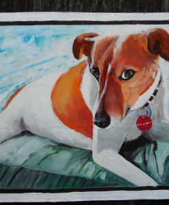 Zoe the Jack Russell mix hand painted on metal by Sanjib Rana