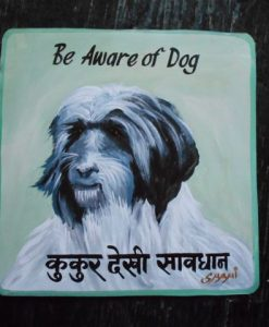 Folk art Beware of Tibetan Terrier hand painted on metal by a sign painter in Kathmandu, Nepal