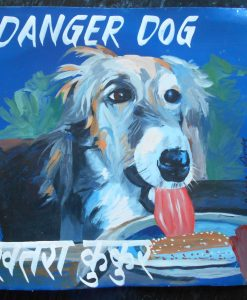 Folk art portrait of Lola the Borzoi eating ice cream hand painted on metal in Nepal.