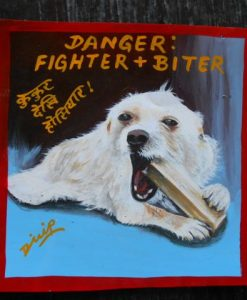 Casper the White Terrier mix dog hand painted on metal.