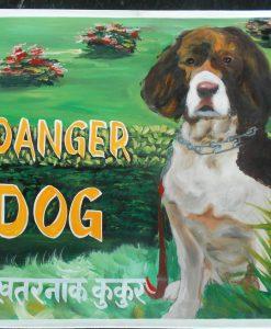 Red and White Springer Spaniel Folk art Beware of Springer Spaniel sign hand painted on metal in Nepal