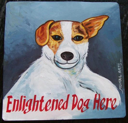 Folk art portrait of a Jack Russell Terrier hand painted on metal by a signboard artist in Nepal.