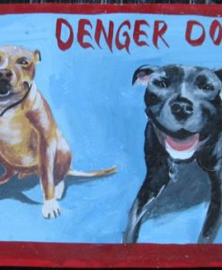 Folk art portrait of 2 pit bulls (Beware of Dog sign) hand painted on metal by a Nepali signboard artist.