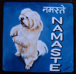 Palden the Lhasa Apso hand painted on metal by a sign painter in Nepal