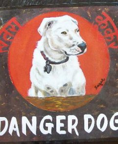Hand painted portrait of a Pit Bull Terrier on metal by a Nepali signboard artist. Beware of Pit Bull.