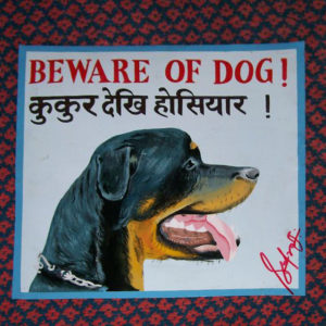 Profile of a Folk art Beware of Rottweiler hand painted on metal by a sign painter in Nepal