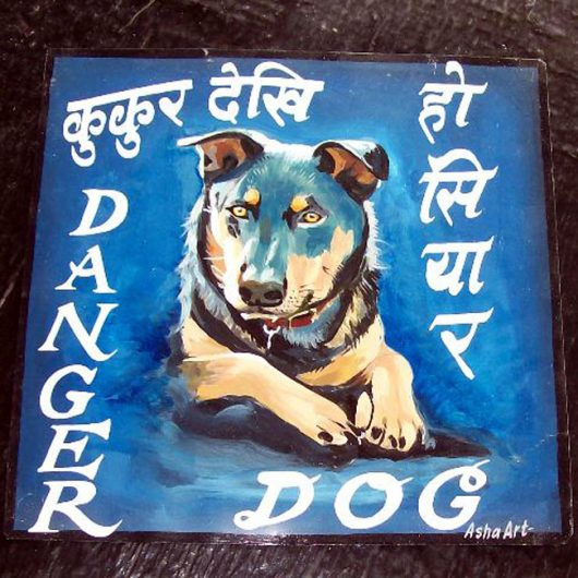 Folk art Beware of Rottweiler hand painted on metal by a sign painter in Nepal against a blue background