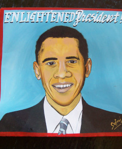 Folk art portrait of Barack Obama hand painted on metal in Nepal