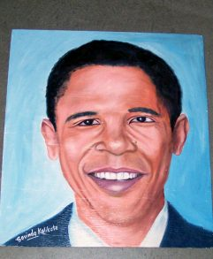 folk art portrait of Barack Obama hand painted on balsa wood by a sign painter in Nepal.
