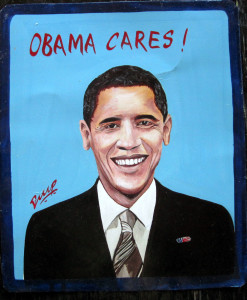 folk art portrait of Barack Obama hand painted on metal by a sign painter in Nepal.
