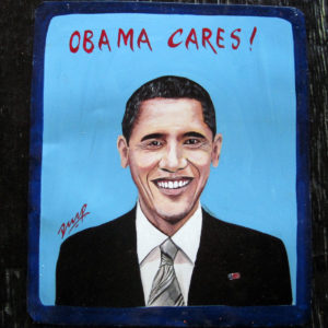 Obama Cares! folk art portrait of Barack Obama hand painted on metal by a sign painter in Nepal.