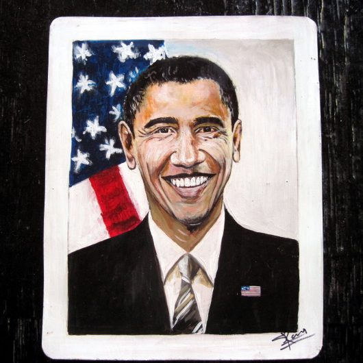Folk Art portrait of Barack Obama hand painted on metal by a Nepali signboard artist.