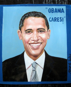 Obama Cares Folk Art portrait of Barack Obama hand painted on metal by a Nepali signboard artist.