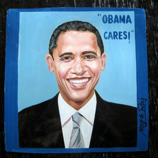 Obama Cares Folk Art portrait of Barack Obama hand painted on metal by a Nepali signboard artist.