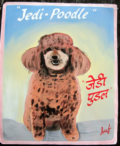 Obi the Jedi Poodle. Folk art Apricot poodle hand painted in the style of Gaugin on metal by a sign painter in Nepal