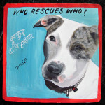 Who rescues who? Folk art be aware of pit bull sign hand painted on metal by a signboard artist in Nepal.