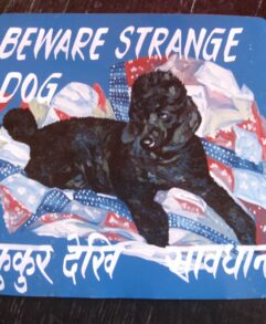 Folk art Black Standard Poodle hand painted on metal by a sign painter in Nepal