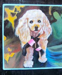 Folk art Apricot Poodle hand painted on metal by a sign painter in Nepal