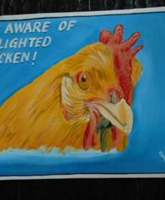 Folk art portrait of a Buff Orpington hen hand painted on metal by a sign painter in Nepal