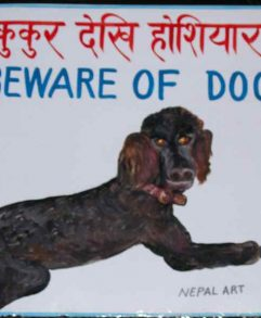 Folk art portrait of a Black Standard Poodle hand painted on metal in Nepal by a sign painter.