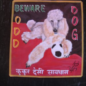 Folk art beware of white Poodle sign hand painted on metal by a sign painter from Kathmandu. There is a soccer ball.