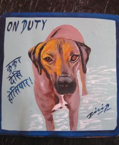 Folk art beware of Rhodesian Ridgeback sign hand painted on metal by a sign painter in Nepal