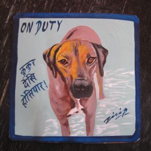 Folk art beware of Rhodesian Ridgeback sign hand painted on metal by a sign painter in Nepal