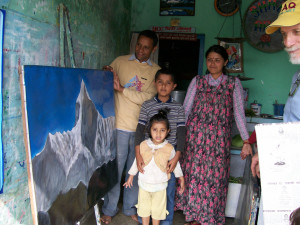 Sign painter and family in Nepal