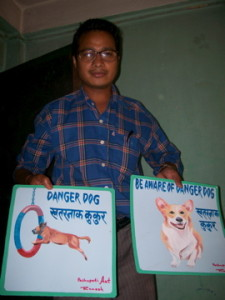Nepal Folk art painter with beware of dog signs