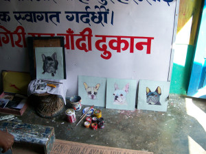 Folk art sign painter in Nepal