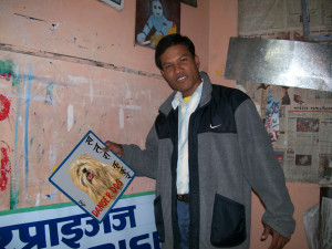 Folk art sign painter in Kathmandu