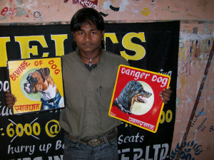 Sign painters from Kathmandu in their studio