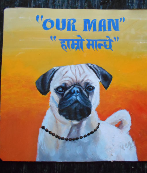 Bubba the Pug hand painted on metal