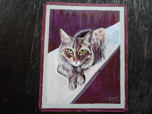 Cooper the Ginger Cat hand painted on metal by the sign painter Punam.