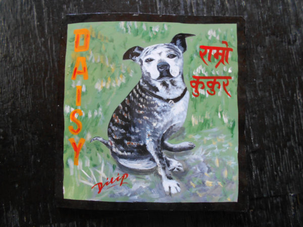 Daisy the Pit Bull Pug mix hand painted on metal by the sign painter Dilip Niroj