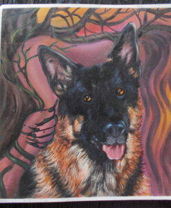 Racy German Shepherd portrait with woman in background