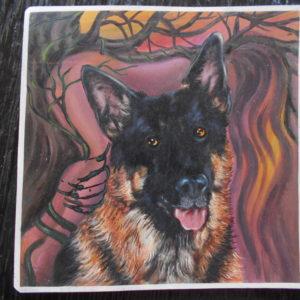 Racy German Shepherd portrait with woman in background