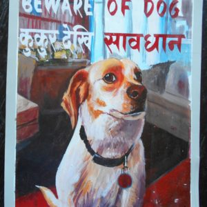 Folk art portrait of a Jack Russell dog hand painted on metal in Nepal