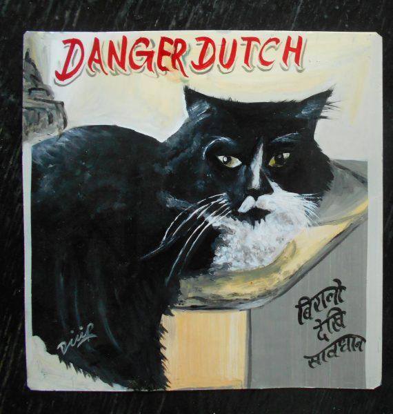 Folk art beware of Danger Cat sign hand painted on metal