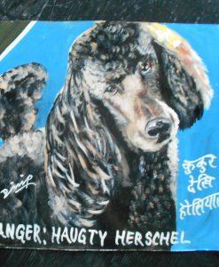 Folk art beware of Black Standard Poodle