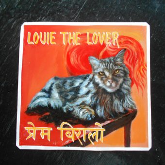 Folk art portrait of a Nepalese Cat