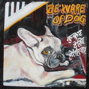 Folk art beware of French Bulldog hand painted on metal in Nepal