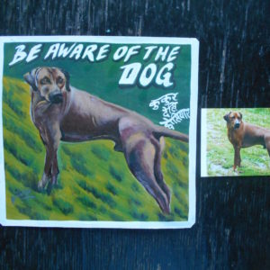 Folk art portrait of a Rhodesian Ridgeback hand painted on metal in Nepal