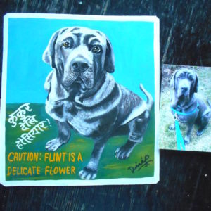 Folk art portrait of a Mastiff hand painted on metal in Nepal