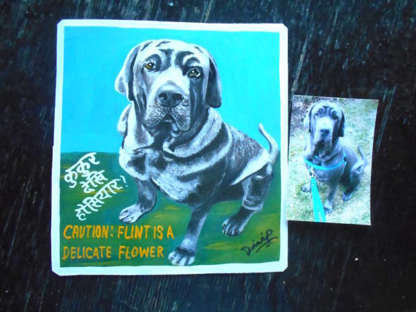 Folk art portrait of a Mastiff hand painted on metal in Nepal
