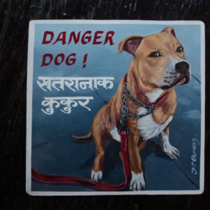 Folk art portrait of a Pit bull hand painted in Nepal