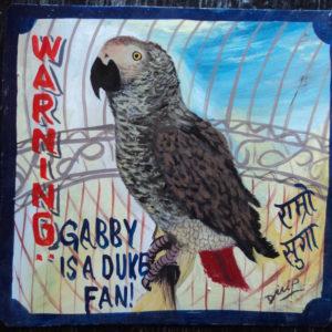 Folk art portrait of an African Grey Parrot